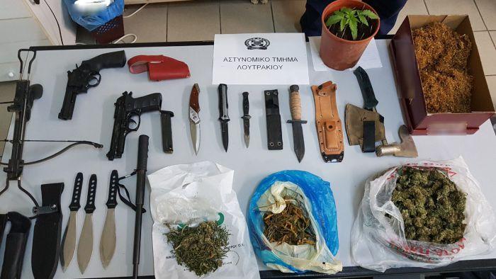 Συλλήψεις για ναρκωτικά και όπλα στο Λουτράκι